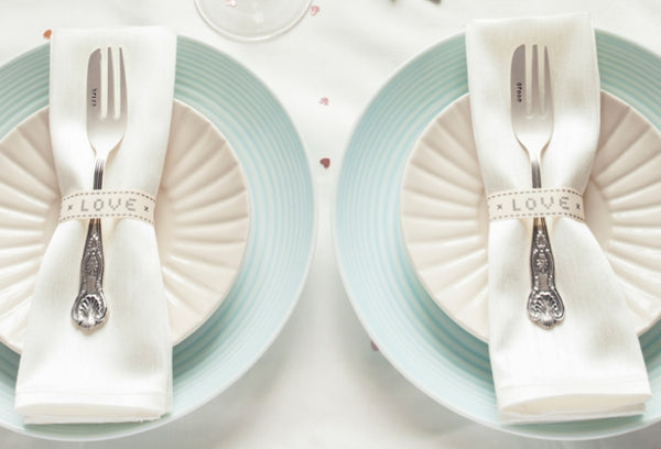 Bride, Groom' Silver Plated Cake Fork Set