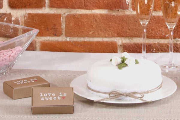 Set of 10 'Love is Sweet' Brown Kraft Cake Boxes