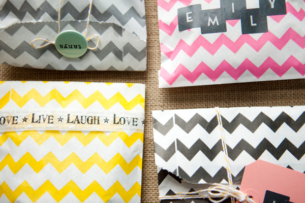 Set of 20 Bright Chevron Goody Bags