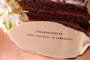 Lets eat cake & celebrate' Silver Plated Cake Slice