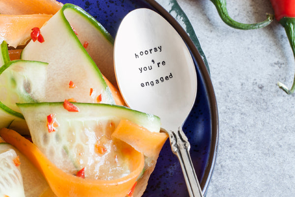 Hooray you're Engaged!' Silver Dessert Spoon