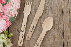 'Yum' Wooden Cutlery Set