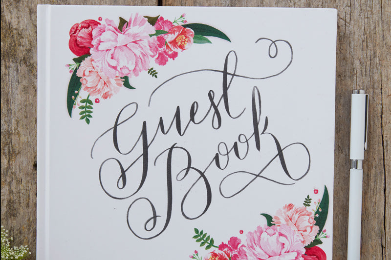 Floral Garland White Guest Book