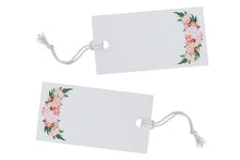 10 White Floral Luggage Tags with Twine