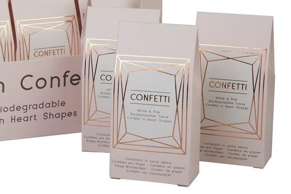 Biodegradable Heart Confetti in Geo Blush Box