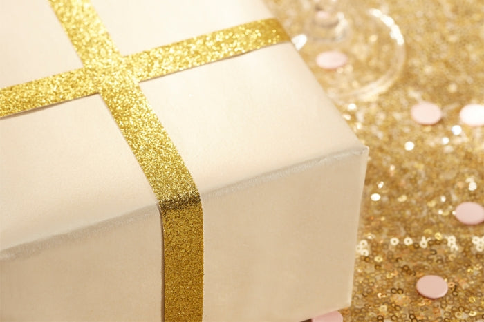 Glitzy Gold Glitter Ribbon