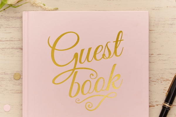 Gold-Foiled Pastel Pink Guest Book