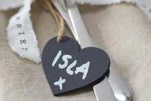 Set of 6 Mini Chalkboard Heart Tags