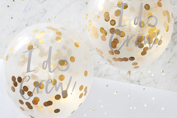 I Do Crew!' Gold Confetti Balloons