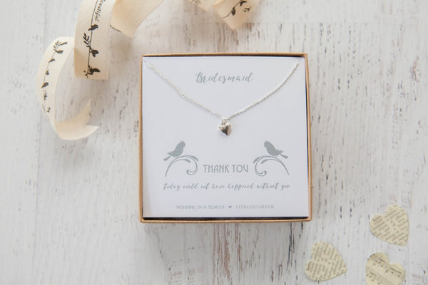 Thank You' Heart Sterling Silver Necklace