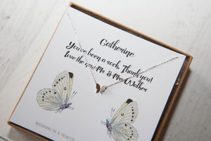 Silver Butterfly Wedding Party Necklace