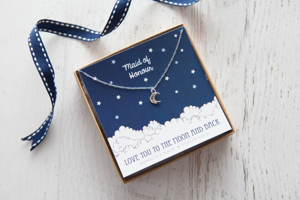 Love You to the Moon' Sterling Silver Necklace
