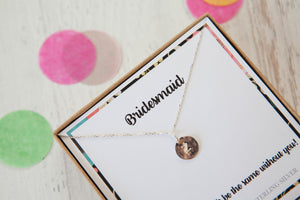 Wedding Party Stamped Disc Initial Necklace