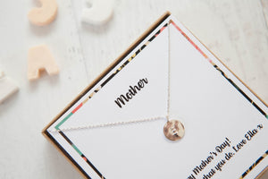 Mama's Initial Disc Necklace On Personalised Gift Card