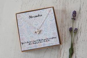 Silver Butterfly Or Bee Necklace On Pastel Gift Card
