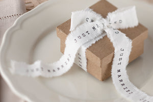 'Just Married' Hessian Style Frayed Ribbon