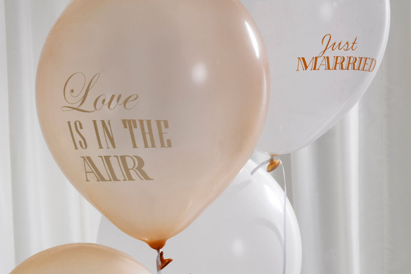 8 'Love is in the Air' Gold & Ivory Balloons