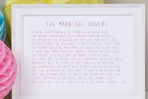Marriage Advert' Poem Print
