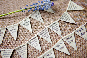 String of Tiny Paper Bunting