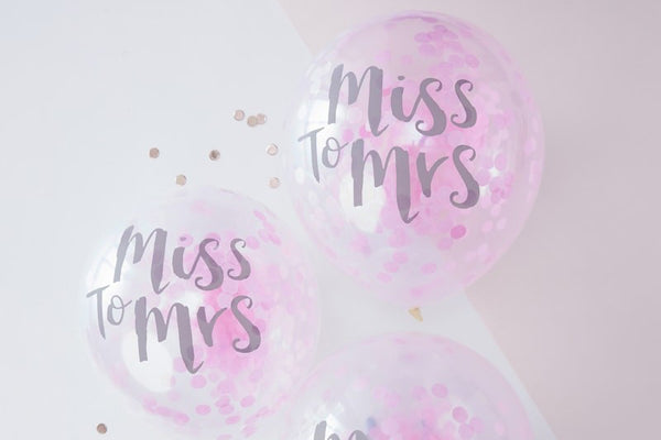 'Miss to Mrs' Pink Confetti Balloons