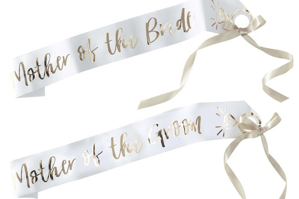'I Do Crew' Mother of the Bride/Groom White & Gold Sashes