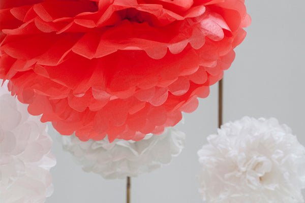 Set of 3 Soft & Neon Tissue Paper Pom Poms