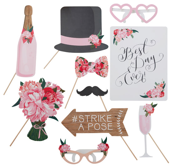 Romantic Flowery Photo Booth Prop Kit