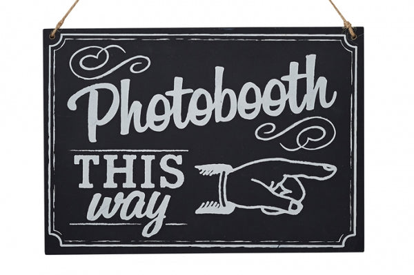 Photo Booth This Way' Chalkboard Wooden Sign