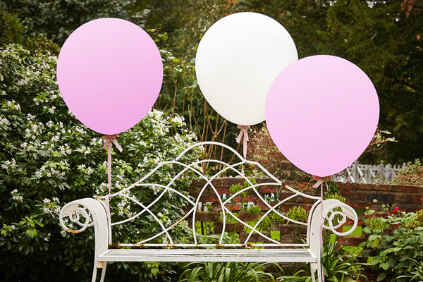 Set of 3 Huge White & Pink Balloons