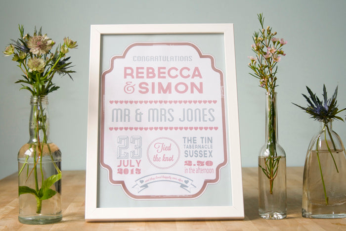 Playbill Personalised Wedding Day Print