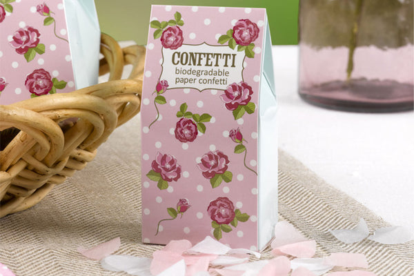 Biodegradable Heart Confetti in Vintage Rose Box