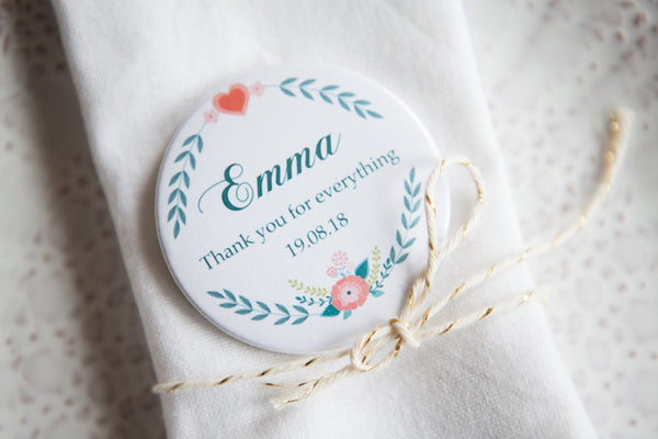 Personalised Folksy Big Badge or Mirror