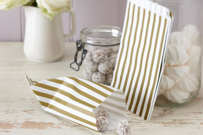 Set of 25 Gold & Ivory Striped Paper Goody Bags