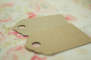 Set of 24 Small Brown Kraft Luggage Tags