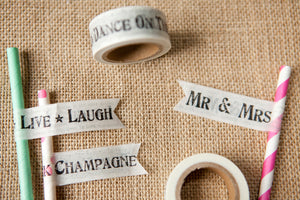 Shabby Black Wedding Words Paper Tape