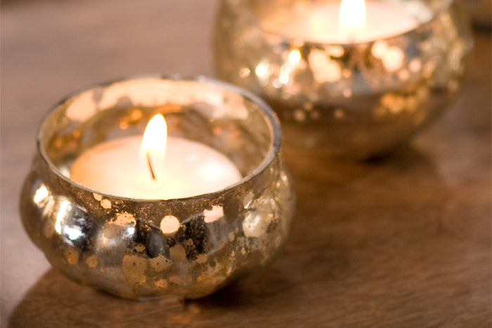 Set of 6 Glass Tea Light Holders