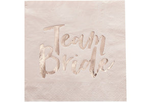 'Team Bride' Gold Foiled Paper Napkins