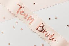 Set of 6 Rose Gold 'Team Bride' Hen Party Sashes