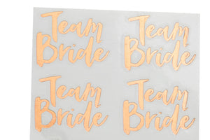 Rose Gold 'Team Bride' Temporary Tattoos