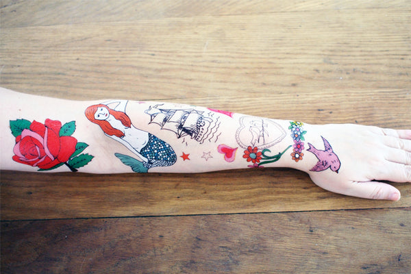 Red Rose & Mermaid Temporary Tattoos