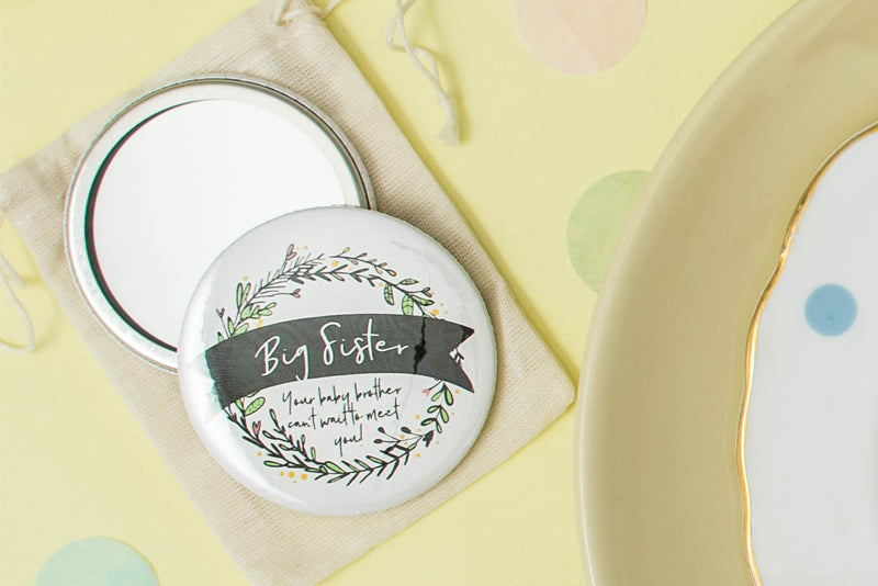 Botanical Wreath Baby Shower Badge Or Pocket Mirror