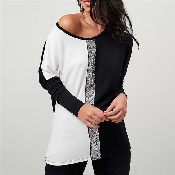 a8150dba ... Ladies Tops and Blouses 2019 Off Shoulder Long Sleeve Shirt Sequined  Patchwork Tunic Casual Loose Tops