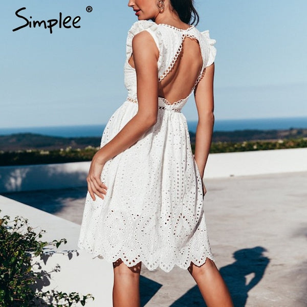 a5cac027ee Sexy white women summer dress 2019 Backless v neck ruffle cotton lace dress  Vintage holiday beach ...