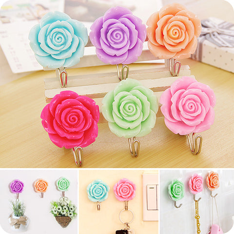 2pcs Self Adhesive Lovely Rose hook