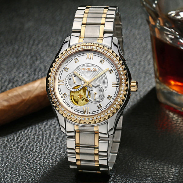 SUNBLON S505B Stainless Steel Mechanical Skeleton Watchen Movement - firstcellphoneadvantage.com