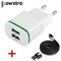 Powstro 2 USB Charger 5V 2.1A EU Plug USB Wall Adapter+1m High Speed Noodle USB 2.0 Cable for Android Samsung S6 Edge Note 4 HTC - firstcellphoneadvantage.com