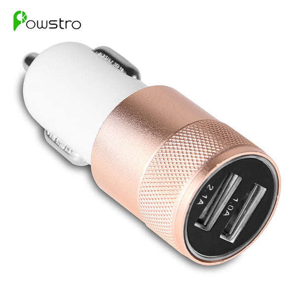 Powstro Aluminum 2 USB Ports Universal Dual USB Car Charger For iPhone 5 6 6 plus For ipad 2 3 4 5 For Samsung Galaxy S4 S5 - firstcellphoneadvantage.com