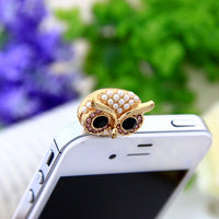 Owl Design With Pearl Dust Plug - firstcellphoneadvantage.com