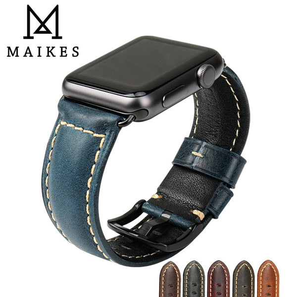 MAIKES Watch Accessories For Apple Watch Band 42mm 38mm Series 3/2/1 iWatch Watchband Blue Oil Wax Leather Apple Watch Strap - firstcellphoneadvantage.com