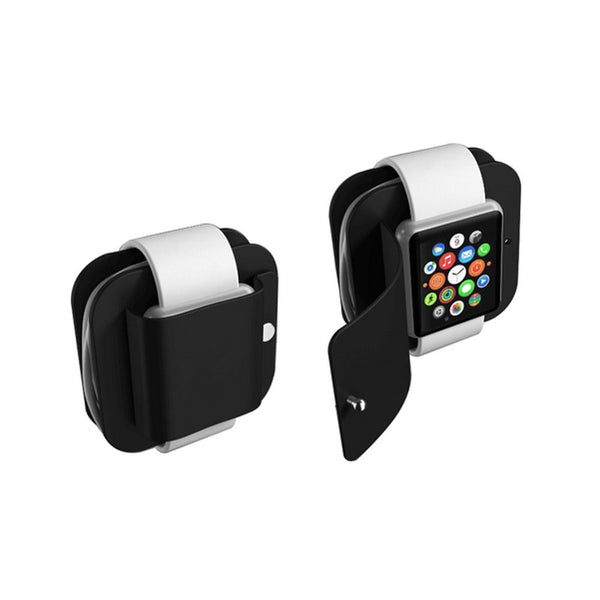 Portable Charging Wallet for Apple Watch Series 1/2 Soft Silicone Charge Holder Stand Charging Dock Station Protective Storage Carrying Case for iWatch 38mm & 42 mm All Models - firstcellphoneadvantage.com